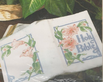 Bucilla Stamped  Embroidery Fabric  Lily Holy Bible Cover