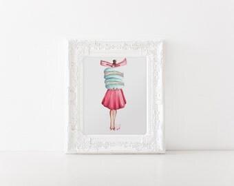 Fashion illustration, Macaron art, Fashion wall art, Paris art, Macaron print, Fashion print, Fashion art, Fashion sketch, Macaron