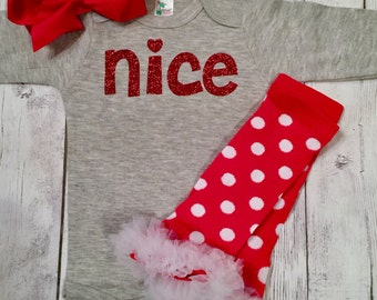 Baby Girls Christmas Outfit, First Christmas Set, Santa Outfit, Nice Christmas Outfit, Red Leg Warmers, Red Christmas Bow, Baby Christmas