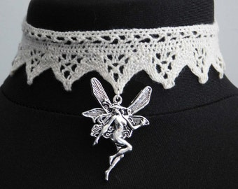 Ivory Lace Fairy Choker Necklace - Sanguine Rose Designs