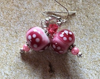 Pink Lampwork Earrings, Glass Earrings, Lampwork Glass, Gifts for Her, Jewelry, Dangle Earrings