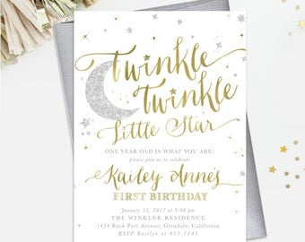 Twinkle Twinkle Little Star Birthday Invitation: 1st, 2nd Any Age! Girl Or Boy. White, Gold & Silver Shimmer - First Party Invite