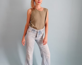 90s Minimal Slouchy Olive Green Tank Top