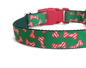 Peppermint Bones Dog Collar - Christmas Candy Canes Collar (Buckle or Martingale)
