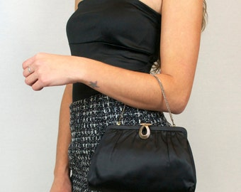 Vintage Black Pleated Satin Evening Clutch Purse Handbag