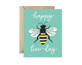 Happy Bee Day Turquoise - Greeting Card
