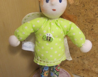 Rosalie a pixie soft doll which is 10 inches tall, Waldorf style