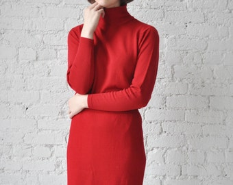Tina sweater • vintage 1980s red wool turtleneck • 80s thin wool sweater