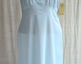 38 Tall 1960s Blue Silk Slip