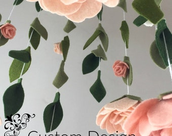felt flower nursery decor mobile | Custom Colors | flower nursery mobile | Peony and roses