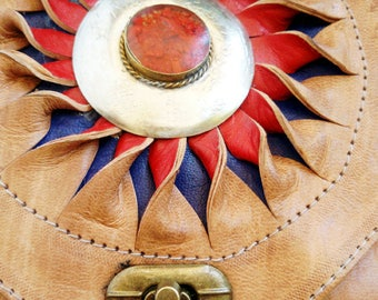 Handmade Leather Bag. Morocco. 8x11 inches.