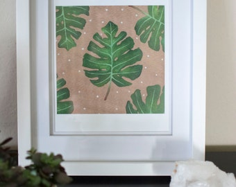 Monstera Print, Nature Painting, Leaf Pattern Art, Wood Art, Original Art, Monstera Leaf, Wood Painting, Home Decor, Art Print, Acrylic Art
