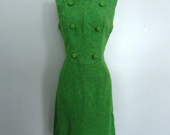 1960's Green Shift Dress // Vintage 60's Day Dress // Small to Medium //