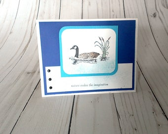 Blank Greeting Card, Goose Card, Masculine Card, Nature Greeting Card, Handmade Card, Paper Greeting Card