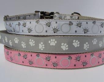 Wedding Day/Proposal, Ring Bearer, Flower Girl Dog Collar - Diamond Ring, Silver Paw Print - Ready to Ship!