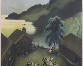1930s Vintage Travel Norway Poster, Scandinavian Art, See the Bright Summer Nights of Norway - Midnight Sun