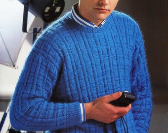 mens sweater knitting pattern pdf mens round neck patterned jumper vintage 32-44 inch aran worsted 10ply instant download