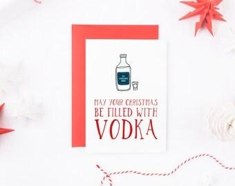 Funny Christmas Card, Vodka Christmas Card, Booze Christmas Card, Funny Vodka Card, Alcohol Christmas Card, Funny Christmas Cards Her