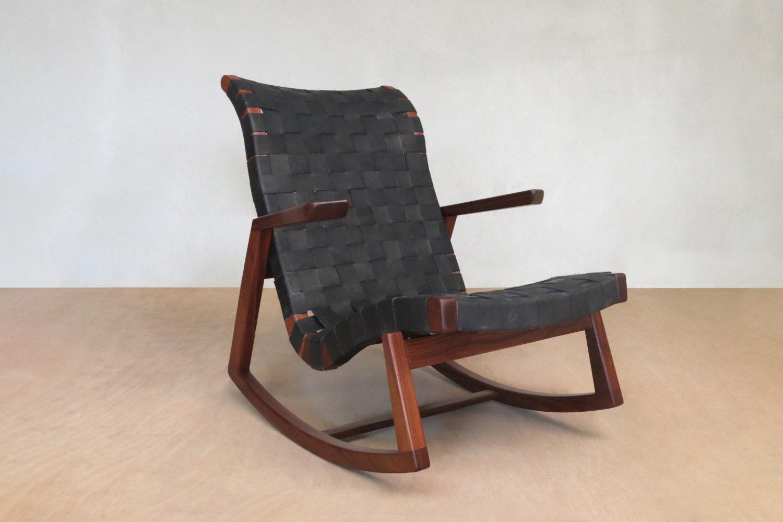 mid century modern rocking chair walnut black leather. Black Bedroom Furniture Sets. Home Design Ideas