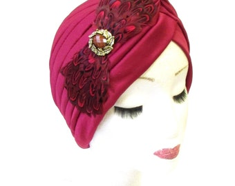 Bronze Burgundy Dark Red Feather Turban Headpiece 1920s Cloche Flapper Vtg 1339