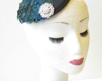 Black Blue Silver Pheasant Feather Fascinator Races 1940s Hair Vintage Clip 1430