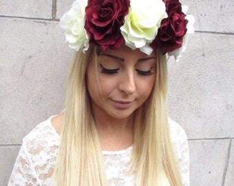 Large Burgundy Deep Red Cream Rose Flower Garland Headband Hair Crown Boho 2454