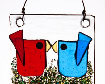 Red and Blue Kissing Birds Handmade Fused Glass Suncatcher