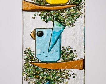 Trio of Happy Little Fused Glass Birds in Yellow, Aqua & Blue