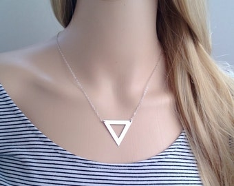 sterling silver large triangle necklace; large geometric necklace; unique jewelry; statement necklace