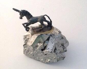"2"" Miniature UNICORN Figurine Retro Vintage Silver Toned Metallic Rock"