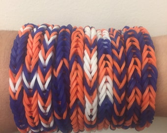 Blue Orange White Rainbow Loom Colorful Fishtail Simple Bracelet USA (Proceeds donated to the Human Rights Campaign)