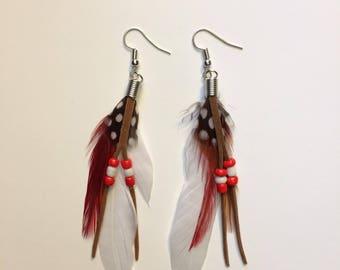 Boho Feather Jewelry - Long Feather Earrings - Festival Jewelry - Long Bohemian Earrings - Feather Statement Earrings - Long Hippie Earrings