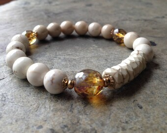 White Turquoise, Fossil Coral, Czech beads and Gold Stretch Bracelet