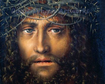 """Lucas Cranach """"Head of Christ Crowned with Thorns"""" 1510 Reproduction Digital Print Christianity Religion Jesus Christ Savior"""