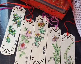 Set of Five Hand Painted Chinese Wooden Bookmarks in a Silk Brocade Box