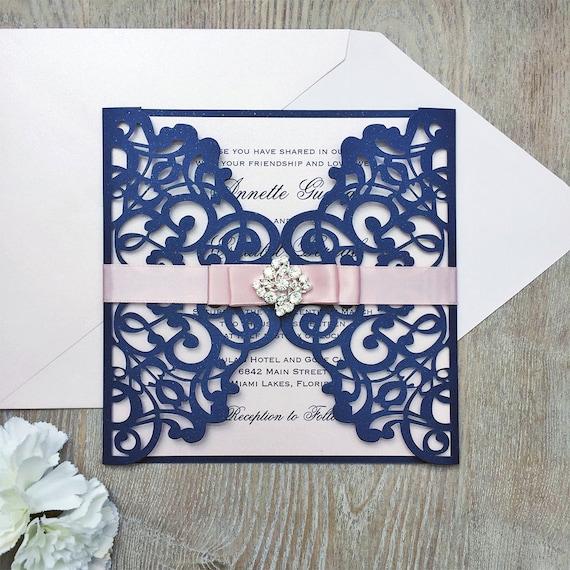 ANNETTE - Navy and Blush Laser Cut Wedding Invitation - Glittering Navy Gatefold w/ Blush Shimmer Insert Layer & Ribbon with Diamond Brooch