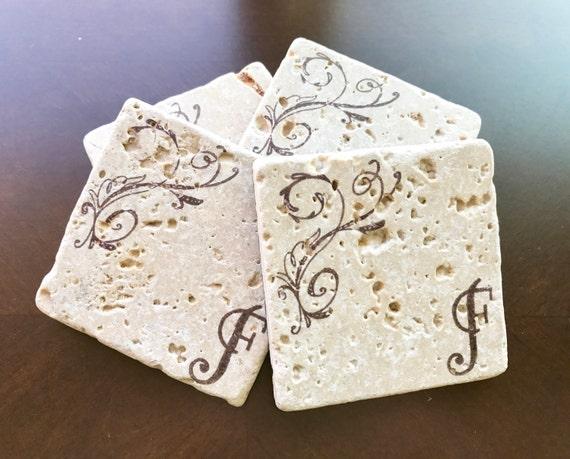 Personalized Coasters Wedding Gift: Monogram Coasters Personalized Stone Coasters Wedding Gift