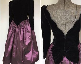 1980s Does the 1950s Black Velvet Taffeta Party Dress - True Vintage - Small Medium