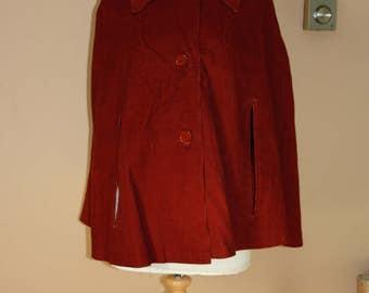 Vintage 1970's corduroy cape