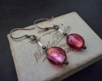 """Vintage pink beaded earrings - 925 - sterling silver - 1.5"""" drop"""