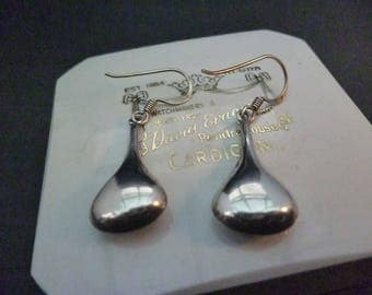 "Unique vintage silver earrings - 925 - sterling silver - 1.5"" drop - dangle & drop"
