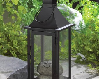 Classic Black Iron Carriage House Candle Lantern - Hanging or Tabletop