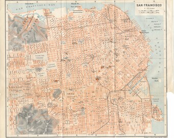 1909 San Francisco California Antique Map