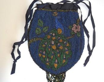 Antique Handmade Purse Beaded Peacock Handbag Blue Back Silk Interior Mini Micro Seed Bead Bird Bag Victorian Art Nouveau Art Deco Fashion