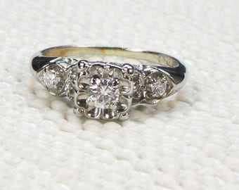 Vintage Engagement Ring Diamond Engagement Ring 14k White Gold Diamond Ring Orange Blossom Diamond Ring Floral Design Pre-Engagement Ring