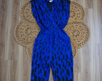 """1970's Vintage Disco Glam Blue and Black Jumpsuit Size S by """"On The Rocks California""""."""