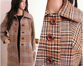 Vintage 70s Houndstooth Checked Brown Wool Coat Boho Mod / UK 12 14 / EU 40 42