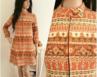 Vintage 60's Orange Wool Stripe Floral Zip Front Mini Dress Mod Folk / UK 10 / EU 38 / US 6