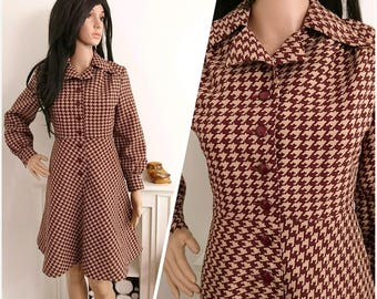 Vintage 1960s 70s Brown Houndstooth A line Button Shirt Dress Mod Boho / UK 12 / EU 40 / US 8