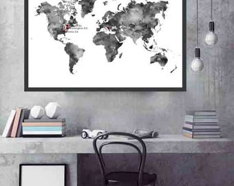 Personalized World Map Travel World Map Christmas Gift World maps and globes Gifts World map gift